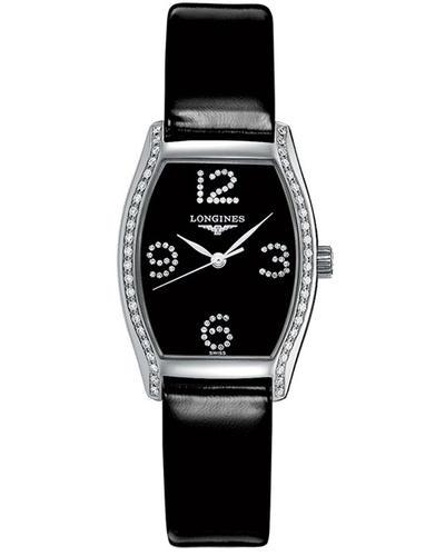 Женские часы Longines Evidenza из коллекции Evidenza Стальной корпус в форме бочки украшенный бриллиантами с черным