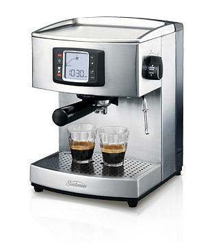 sunbeam em5600 cafe latte coffee machine espresso machine lowest price test and reviews. Black Bedroom Furniture Sets. Home Design Ideas